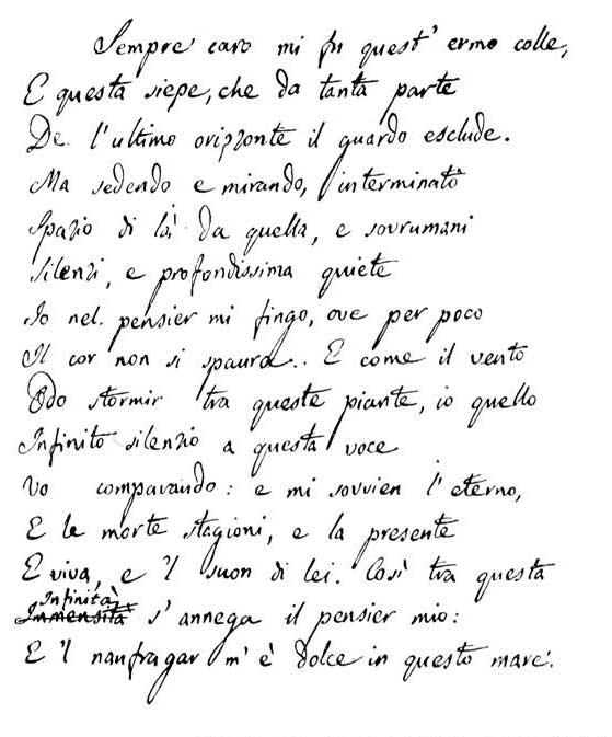 Infinito di Giacomo Leopardi: presto all'asta il terzo ...
